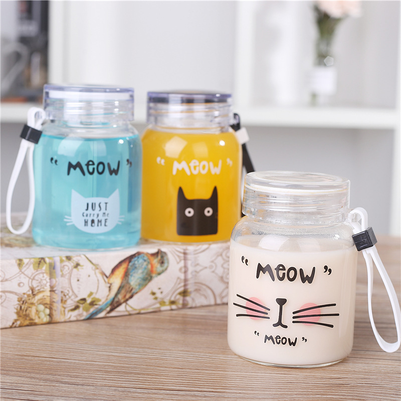 Portable cute cat portable transparent cup Cartoon glass bottle water insulated plastic cups