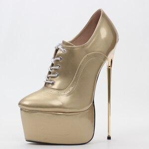 Image 3 - Jialuoweiブランド新しい女性は22センチメートル高ヒールポインテッドトゥプラットフォーム女性のセクシーなフェチシンプルな純金金属ヒールシングルスの靴