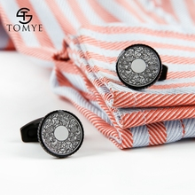 TOMYE Matte Black Pattern Classic Elegant High Quality Novelty Cufflinks Wholesale Men XK19S115