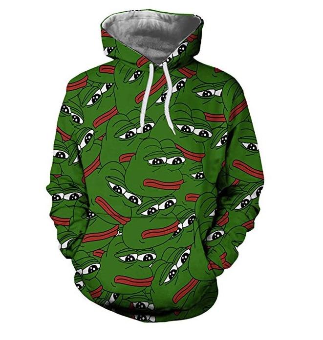 PLstar Cosmos Unisex Funny style frog head Face Tops 3D Full Print Hoodie Men Women Fashion Innrech Market.com