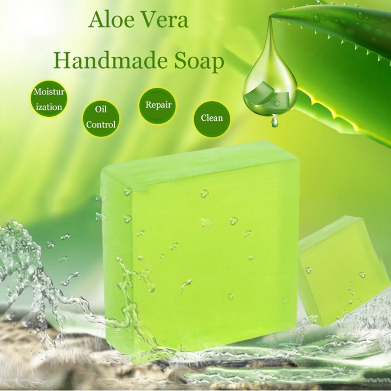 Handmade Soap Aloe Vera Gel Oil-control Anti-acne Oil-control Sulfur Soap Removal Pimple Pore Acne Treatment Soap Face Clean