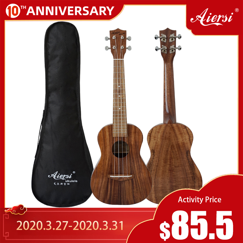 Aiersi Brand Solid Koa Concert Tenor Hawaii Ukulele With Ukulele Bag