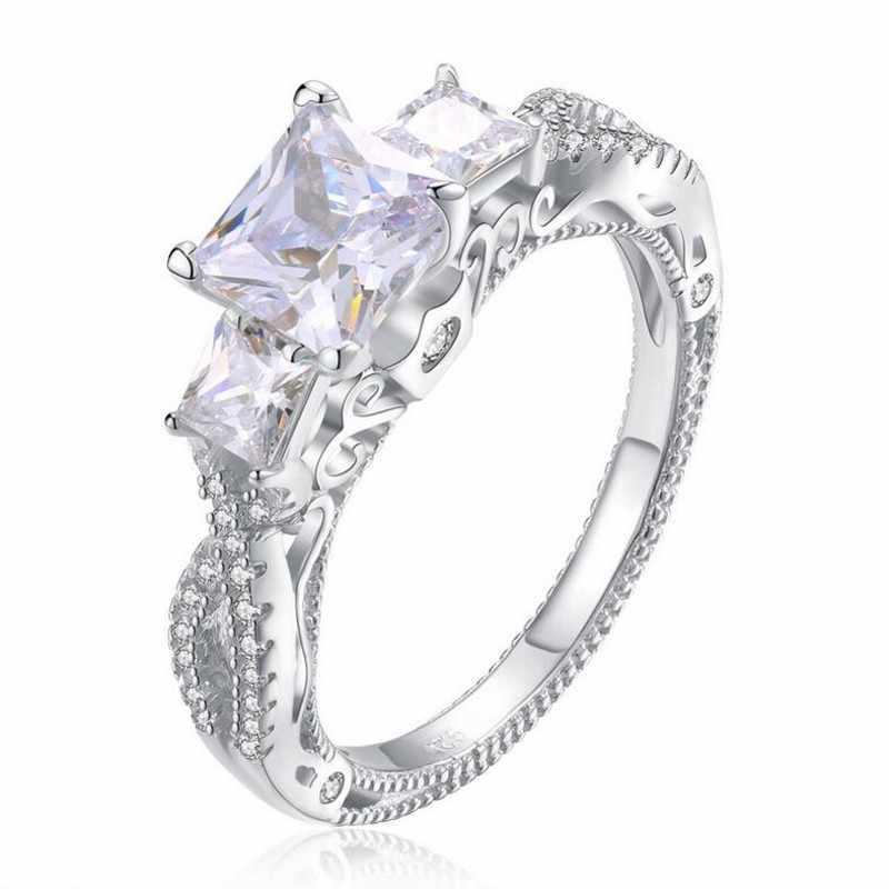 Luxus 100% 925 sterling silber Platz Drei stein Diamant ring finger Marke Erstellt Moissanite Hochzeit Ringe für Frauen Schmuck