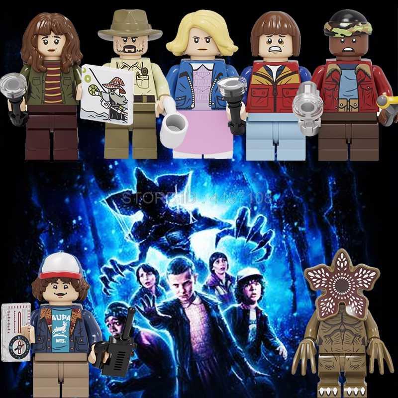 Coisas estranhas figuras demogorgon onze terror filme pennywise palhaço criador técnica blocos de construção halloween natal brinquedos