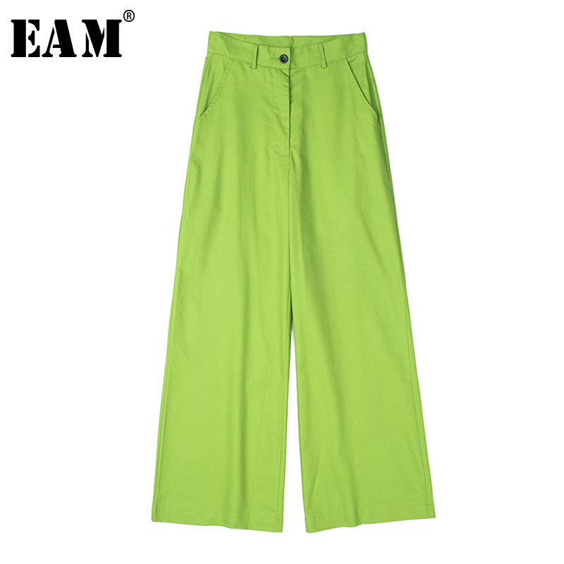 [EAM] High Waist Green Brief Leisure Long Wide Leg Trousers New Loose Fit Pants Women Fashion Tide Spring Autumn2020 1X541