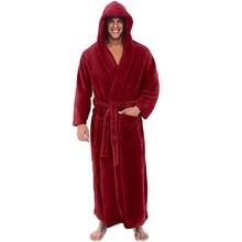 Мужская зимняя плюшевая удлиненная шаль, халат, домашняя одежда, халат с длинными рукавами, пальто, мужской халат, albornoz hombre, меховой Халат