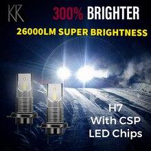 Светодиодные лампы KR H7 для автомобиля, мини фары 6000K 55 Вт/лампа, универсальные Сверхъяркие COB лампы для автомобилей, светодиодные лампы для а...