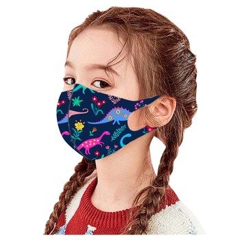 Face Mask Children's Dinosaur Print Ice Silk Dust Mask Children's Windproof Reusable Printed Face Mask 1pc Mascarillas Маска #K image