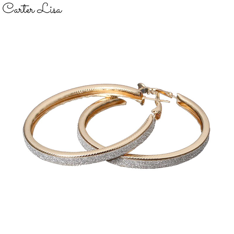 CARTER LISA 2019 Jewelry Vintage Big Crircle Hoop Earrings For Women Boho God Color Round Earrings European Ins Earrings