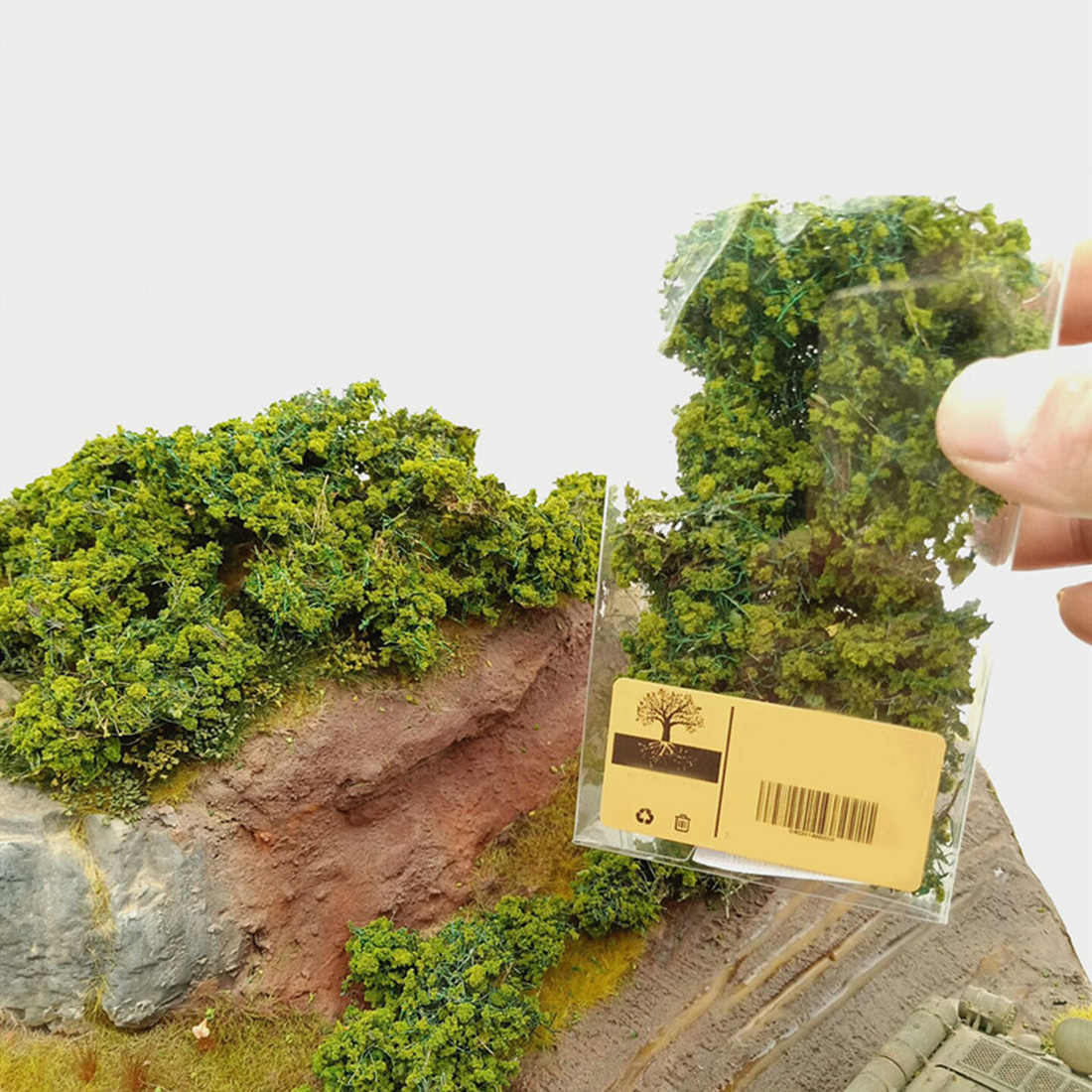 DIY Simulation Tree Bush Combat Vehicles Camouflage Cover Sand Table Miniature Vegetation Model - Light Green