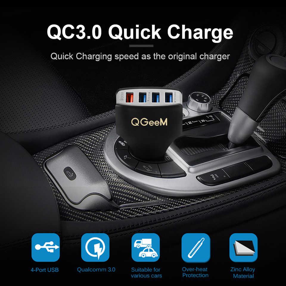 Qgeem 4USB QC 3.0 Charger Mobil Pengisian Cepat 3.0 Telepon Pengisian Mobil Cepat Charger 4Port Usb Mobil Charger Portabel untuk iPhone Xiaom