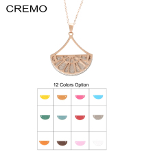 Cremo Delicate Chain Necklace Fashion Fan Pendant Interchangeable Leather Charm Pendant Necklace Women Necklaces & Pendants Girl цены