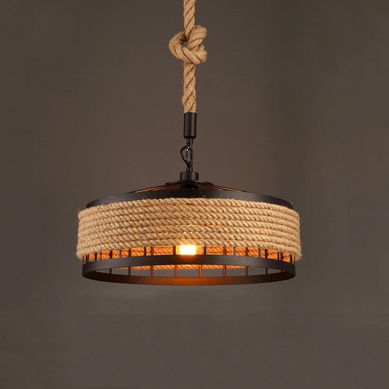 Iron Rope American Industry Loft Chandelier Creative Headlight Restaurant Bar Cafe Light Dining Room Pendant Lamp Droplight