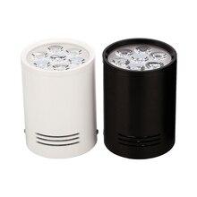 3W 5W 7W 12Wพื้นผิวดาวน์ไลท์LEDโคมไฟเพดานไฟสีขาวสีดำสำหรับห้องนั่งเล่นห้องครัวห้องน้ำไฟ