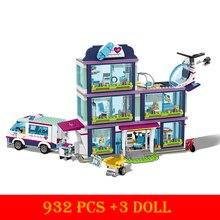 цена на 932PCS Small Building Blocks Toys Compatible Lepining Friends for City Heartlake Hospital Ambulance Block Girls Toys