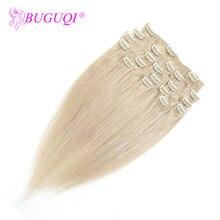 BUGUQI волосы на заколках для наращивания человеческих волос малазийские#24 Remy 16-26 дюймов 100 г волосы на заколках для наращивания