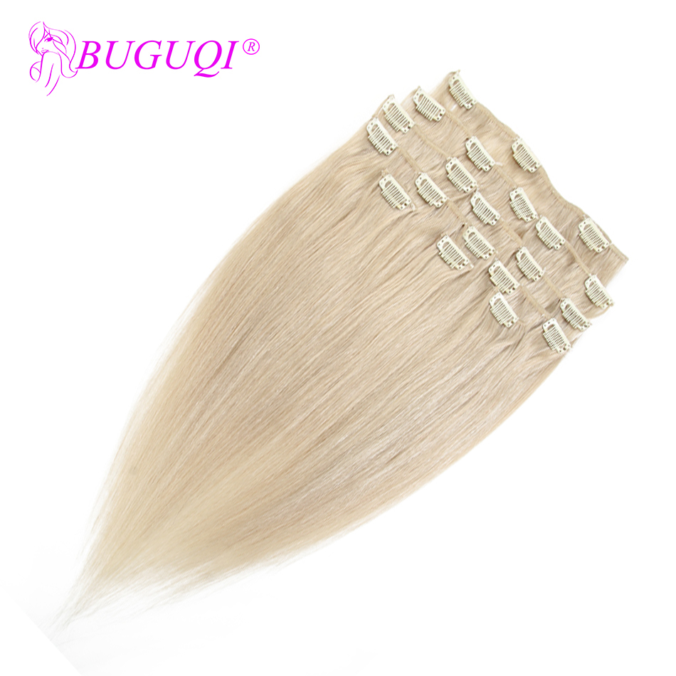 BUGUQI Hair Clip In Human Hair Extensions Malaysian #24 Remy 16- 26 Inch 100g Machine Made Clip Human Hair Extensions