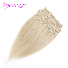 BUGUQI Hair Clip In Human Extensions Malaysian #24 Remy 16- 26 Inch 100g Machine Made