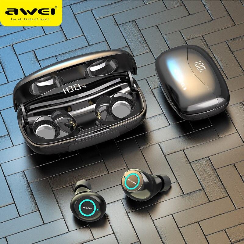 AWEI T19 TWS 5.0 2500mAh LED affichage Super basse stéréo écouteurs antibruit étanche IPX5 avec double micro pour le Sport de jeu