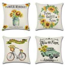 1Pc Pillowcase Decorative Square Sunflower Throw Pillow case Sofa cushion cover for Bed Home Car 18 x 18 Inch 45   x 45 cm цены