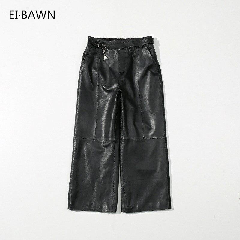 Véritable peau de mouton élastique taille naturelle pantalon à jambes larges édition coréenne plus grandes tailles femmes peau de mouton pantalon en cuir