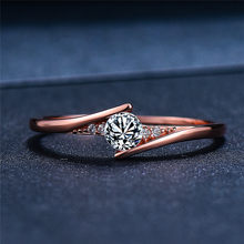 Luxury Female Small Round Stone Ring Promise Rose Gold Engagement Ring Boho Vintage Wedding Rings For Women
