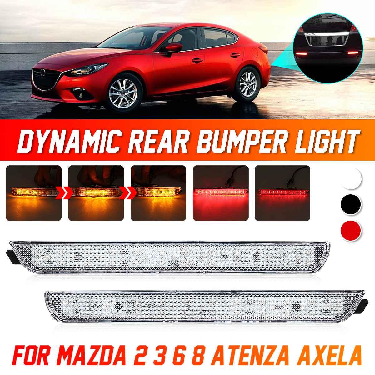 Pair LED Rear Bumper Reflector Lamp Tail Fog Stop Brake Light For Mazda 3 Axela