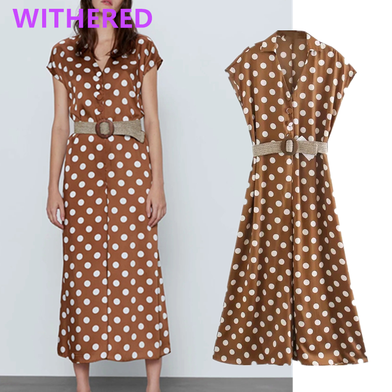 Withered England Office Lady Sashes Vintage Polka Dot Loose Jumpsuit Women Rompers Womens Jumpsuit Combinaison Femme Jumpsuits