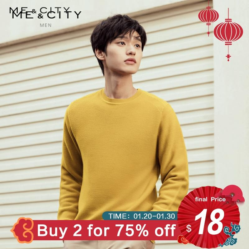 ME&CITY Brand Wool Sweater Men 2019 Autumn Fashion Long Sleeve Knitted Men Business Based Sweater High Quality Clothes