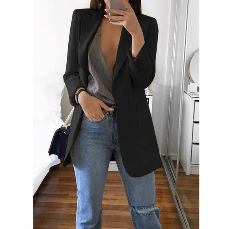 2019 New Spring And Autumn Explosion Women's Long Sleeves Solid Color Pocket Cardigan Small Suit Jacket
