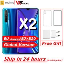 Realme X2 wersja globalna telefon komórkowy 6.4 ''pełny ekran Snapdragon 730G 64MP kamera NFC 30W szybka ładowarka OPPO telefonu komórkowego VOOC
