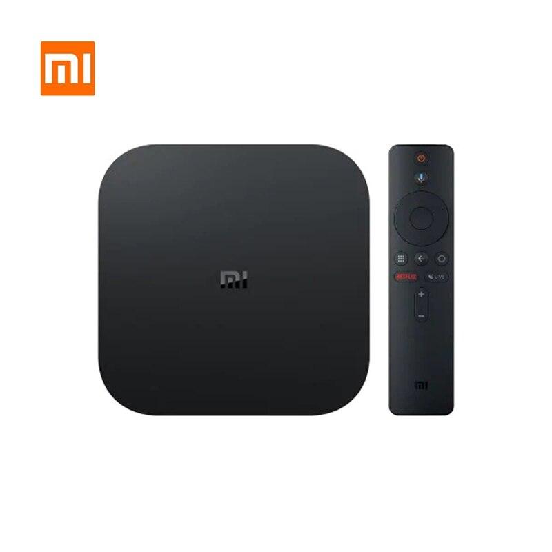 Boîtier TV d'origine Xiao mi mi prise ue 4K HDR Android TV 8.1 Ultra HD 2G 8G WIFI Google Cast Netflix-lecteur multimédia décodeur IPTV
