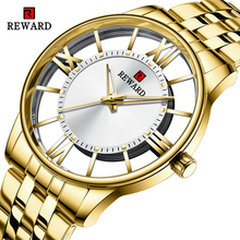Male Clock Wrist-Watch Reward-Top Quartz Transparent Dial Business Waterproof Golden-Steel