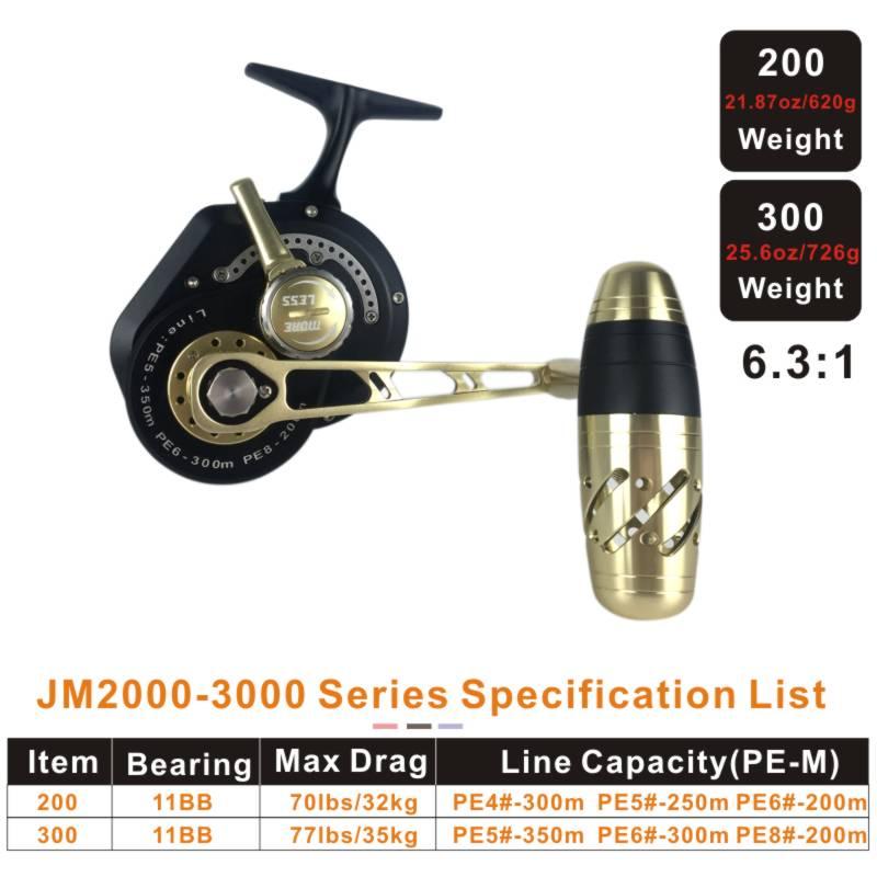 Рыболовная катушка Topline Tackle 200/300, Рыболовная катушка для джиггинга, максимальная тяга 35 кг, катушка большой емкости для лески, полностью Металлическая катушка с защитой от коррозии в морской воде 2
