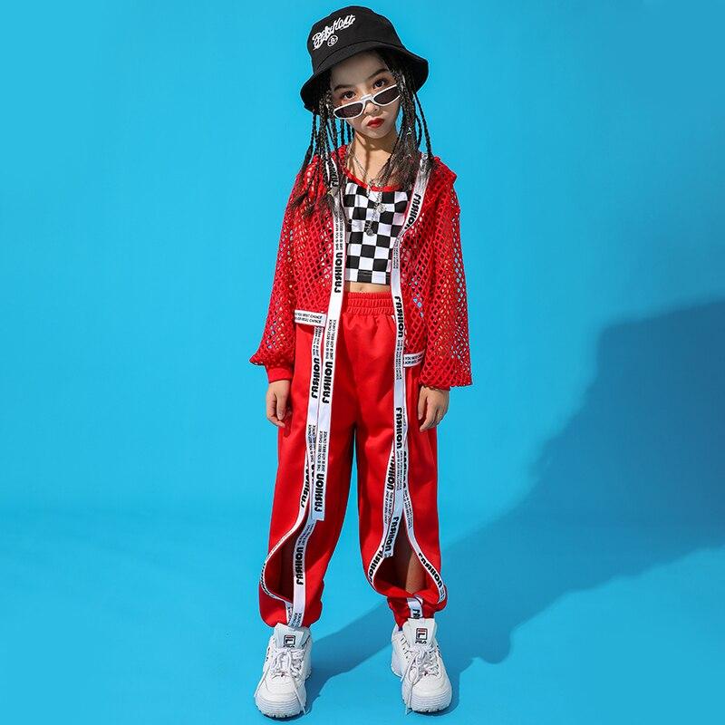 Red-Hip-Hop-Dance-Costume-Kids-Jazz-Dance-Clothing-Girls-Suit-Vest-Coat-Pant-New-Performance (1)