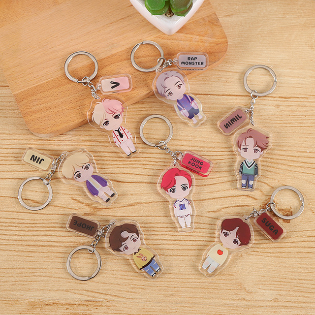 2020 Korean New BTS-077 Silicone Portrait Keychain Men and Women Fashion Accessories Mobile Phone Bag Pendant Holiday Gifts