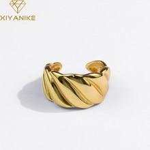 Xiyanike 925 Sterling Zilveren Nieuwe Koreaanse Draad Golvende Gouden Ring Vrouwelijke Temperament Alle-Wedstrijd Open Mode-sieraden Dropshipping