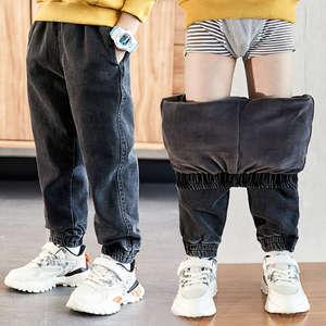 Boys Jeans Korean-Pants Washed Autumn Winter Cotton And for Kids Plus Velvet Hot-Sale
