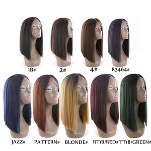 Image 5 - Medium Brown Synthetic Hair Lace Front Wigs High Temperature Fiber X TRESS Yaki Straight Short Bob Blunt Lace Wig Middle Part