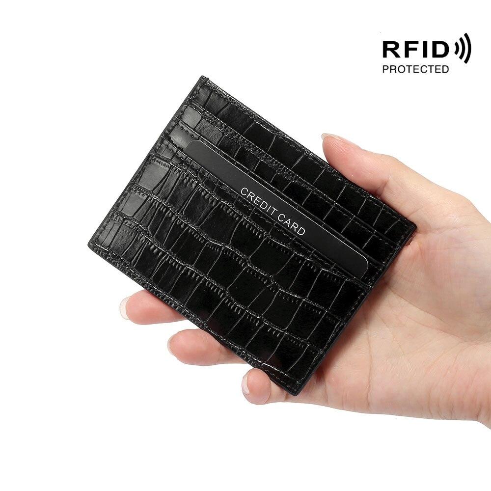 Crocodile Candy Color Leather Card Holder Bank Credit Card ID Holder Slim Card Case