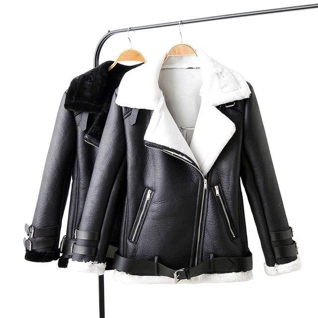 Fitaylor New Winter Faux Lamb Leather Jacket Women Turn Down Collar Sheepskin Coat Pu Motorcyle Biker Warm Thick Outerwear