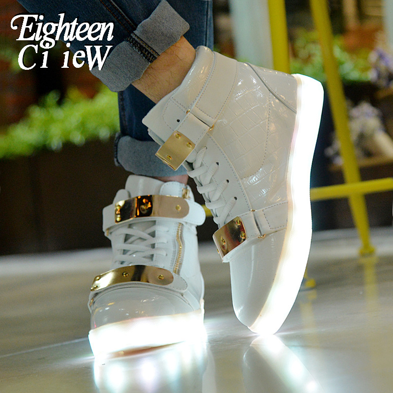 Size 28-42 Kids Led USB Charging Glowing Sneakers Children Luminous Shoes For Girls Boys Men Women Dance Shoes Light Up Shoes