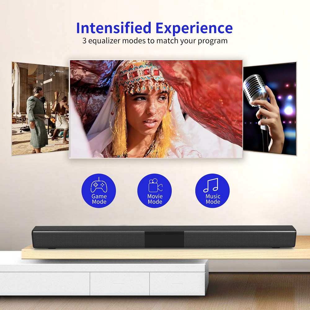 50W TV Soundbar Wired and Wireless Bluetooth 5.0 Speaker Home Theater Stereo Sound Bar Built-in Subwoofers with Remote Control 2