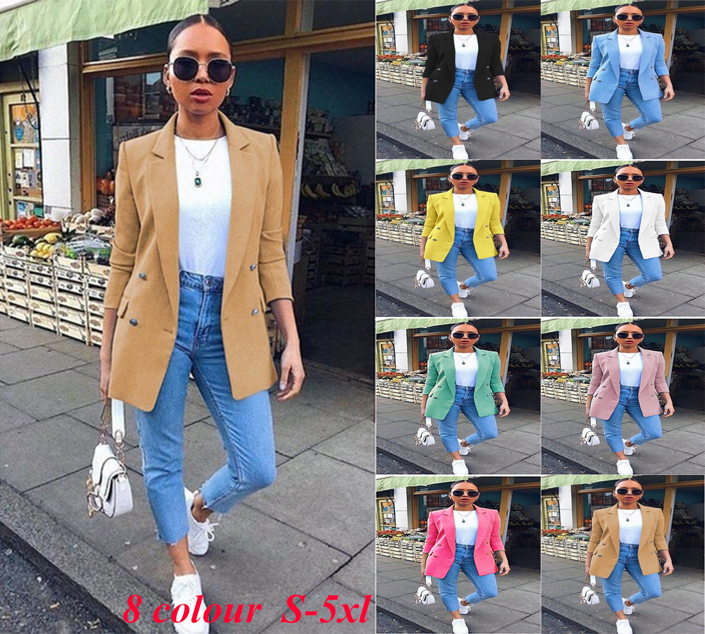 Women Blazers and Jackets Gothic Black Blazer Korean Clothes 2018 Christmas Solid Coat Plus Size Winter Clothes Pink Pockets