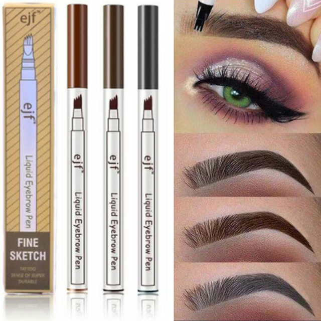 3 Colors 4 Head Eyebrow Marker Pencil Waterproof Microblading Eyebrow Thin Tattoo Pen Eyebrows Shades Makeup Eye Brow Pencil