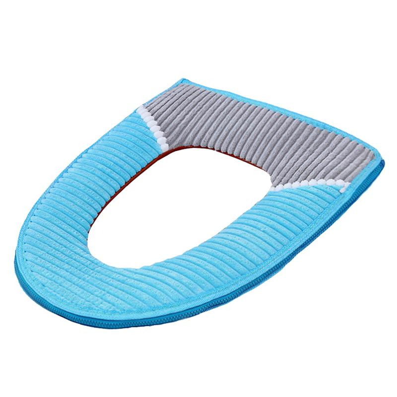 1PC Soft Toilet Seat Cover Winter Warm Corduroy Stripe Sticky Buckle Waterproof Toilet Set Thickened Toilet Cushion For Bathroom