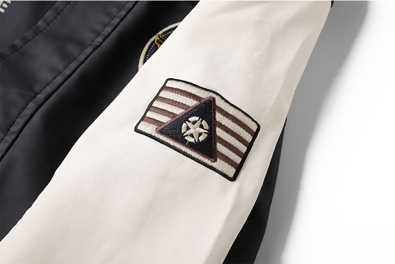 Fashion Men Pu Leather Jackets Block Color Faux Leather Badge Jackets Coats For Male Stand Collar (5)