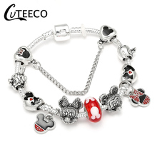 CUTEECO Fashion Love Silver Color Snake Chain Charm Bracelet Mickey Minnie Beads Brand For Women Jewelry Accessories