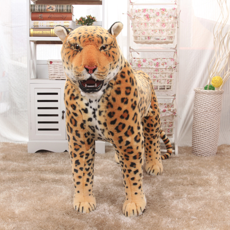 63cm Length Real Life Animal Leopard Toy Doll Station Tiger Plush Doll Gift For Boys Toys For Children Juguetes Brinquedos Decor