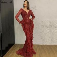Dubai Wine Red Sequined Luxury Evening Dresses 2020 Deep V Long Sleeve Sparkle Sexy Formal Dress Serene Hill LA70404